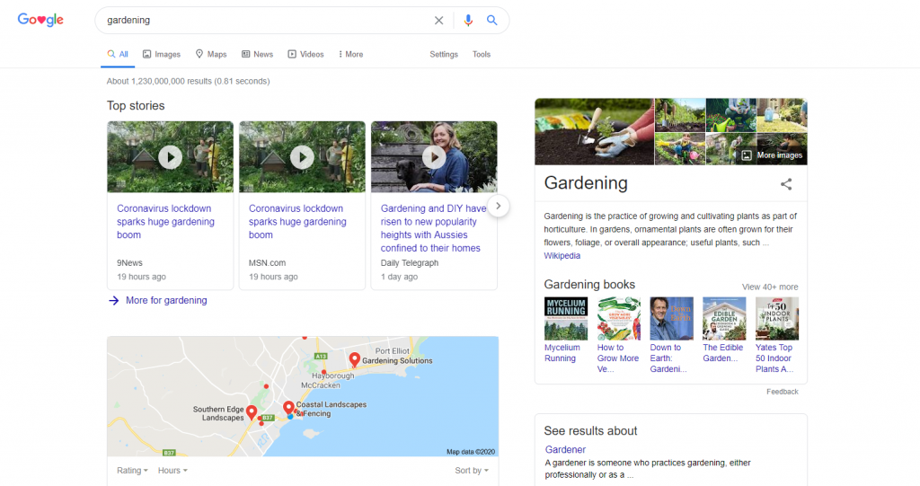 An image showing the current content rich search results